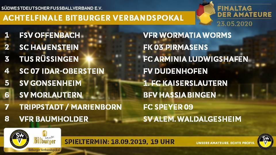 Achtelfinale Bitburger Verbandspokal 2019/20